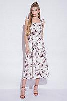 Летнее платье-сарафан, вискоза, 42-50, молочный, баклажан