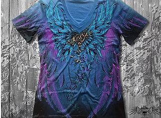 """""""Ангел"""" Женская футболка тотальная синяя"""