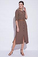 Летнее платье-халат, вискоза, 44-54, графит, стиль сафари