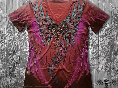 """""""Ангел"""" Женская футболка тотальная коралловая, фото 2"""