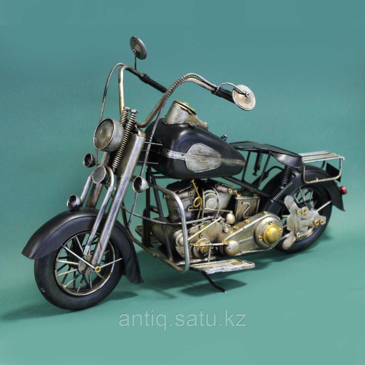 Античная классическая модель мотоцикла Ретро. Металл - фото 3