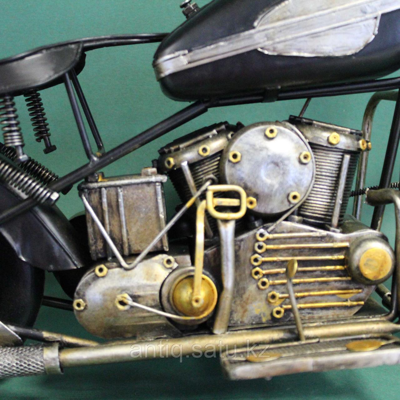 Античная классическая модель мотоцикла Ретро. Металл - фото 4