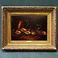 Натюрморт с вином и морепродуктами» Emile Le Febvre. Франция, 19 век
