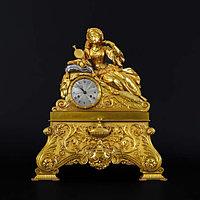 КАМИННЫЕ ЧАСЫ «ДЕВУШКА НА ШКУРЕ БАРСА» Эпоха правления императора Карла X (1830 1840).