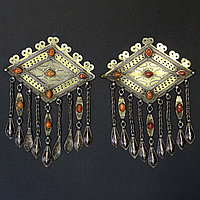 """Пара туркменских подвесок-пекторалей, """"Чанга"""", украшение костюма - застежки-амулеты для женского халата. 2 шт"""