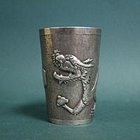Кубок с драконом из серебра. Китай. 19-нач. 20 века. Редкий коллекционный предмет.