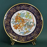 Курьер Чингисхана. Эксклюзивная большая тарелка фирмы Хутченройтер. Кобальт, позолота.