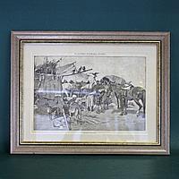 Продажа соколов. Старинная гравюра для журнала до 1917 года.