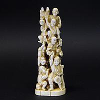 """Скульптура """"Актеры"""" Клык моржа. Япония XIX век"""