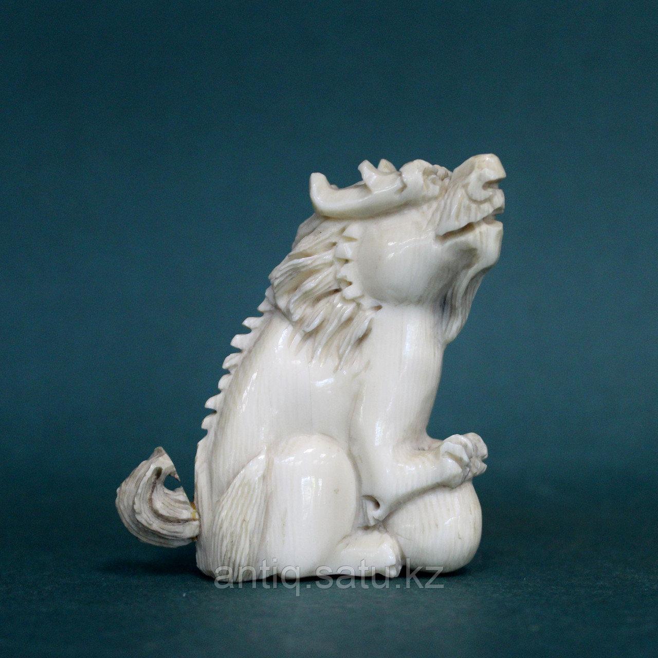Слоновая кость. Карасиси Фо - небесный лев Будды. 52гр. - фото 1