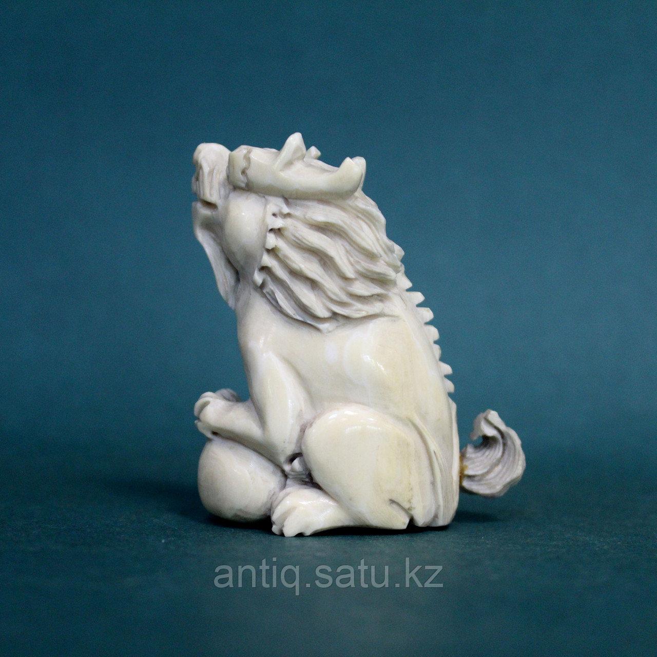 Слоновая кость. Карасиси Фо - небесный лев Будды. 52гр. - фото 3