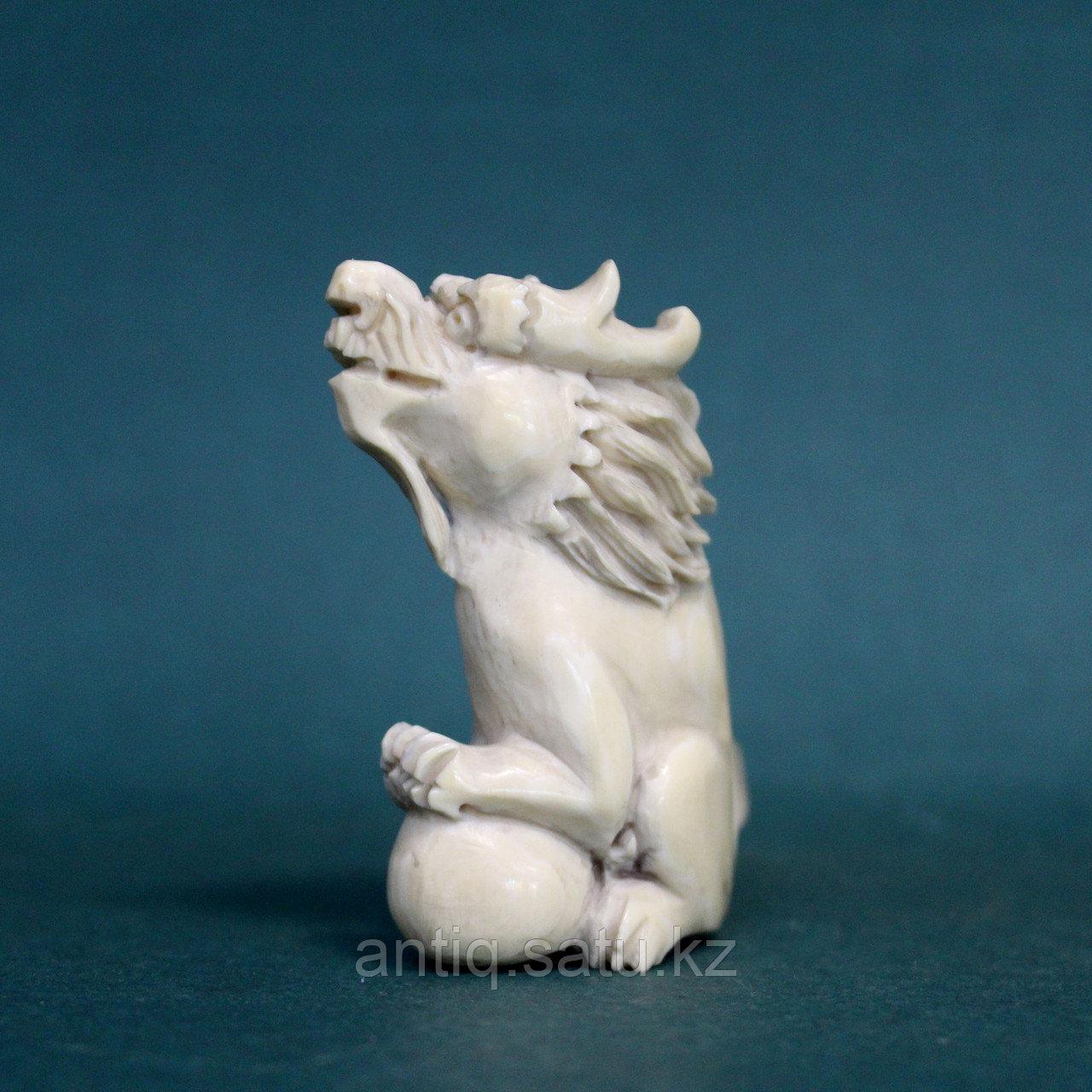 Слоновая кость. Карасиси Фо - небесный лев Будды. 52гр. - фото 4