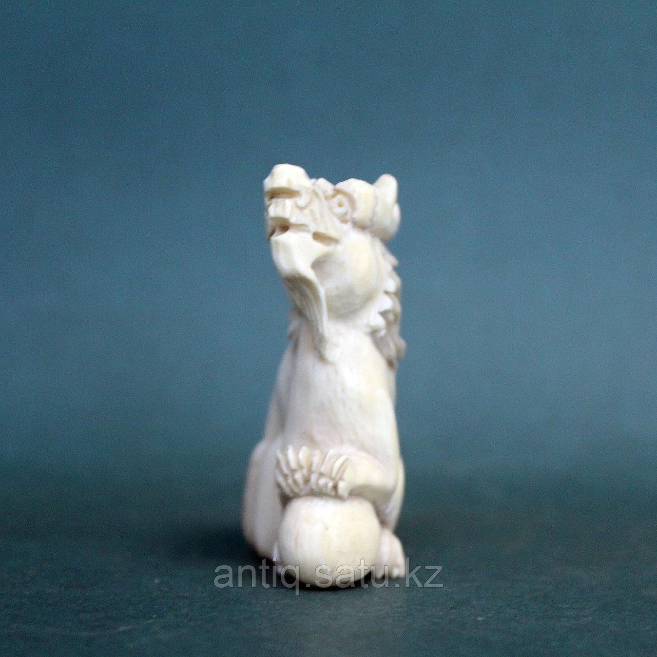 Слоновая кость. Карасиси Фо - небесный лев Будды. 52гр. - фото 5