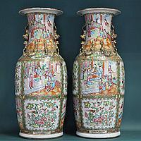 Старинные парные вазы кантонских мастеров (г.Гуанчжоу) XIX века