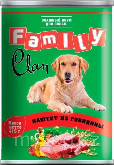 CLAN FAMILY влажный корм для собак всех пород паштет  с Говядиной 415гр