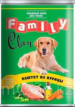 CLAN FAMILY влажный корм для собак всех пород паштет с Курицей 415 гр