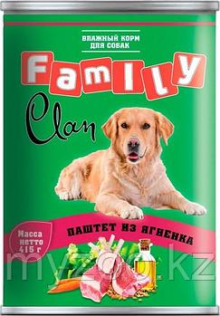 CLAN FAMILY влажный корм для собак всех пород паштет  из Ягненка 415гр