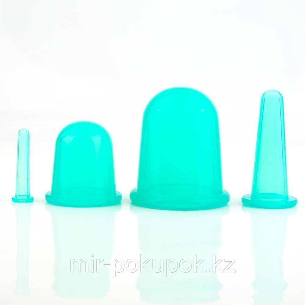 Массажные силиконовые вакуумные банки антицелюлитные для лица и тела (в наборе 4 шт)
