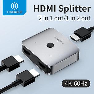 HDMI Свитч/Switch на 2 порта HAGIBIS | HDMI 2.0 разрешение до 4K 60 HZ, фото 2