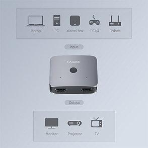 HDMI Свитч/Switch на 2 порта HAGIBIS   HDMI 2.0 разрешение до 4K 60 HZ, фото 2