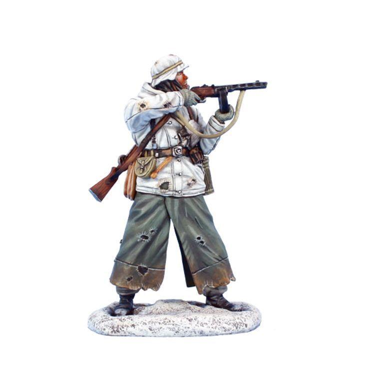 Коллекционный солдатик, Сталинградская битва Немецкий солдат в зимней форме а изготовке с ППШ41