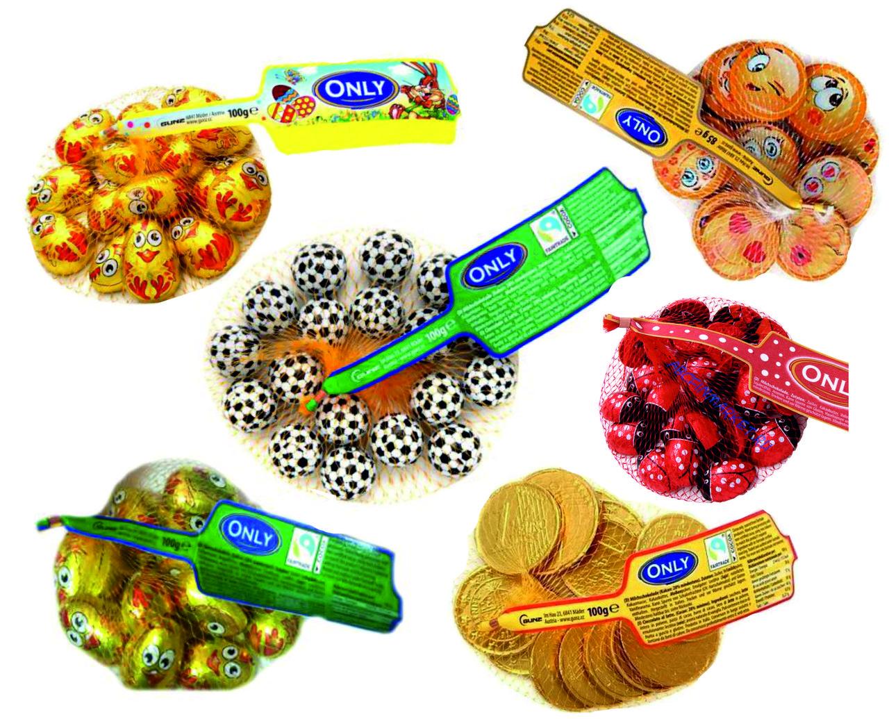 Фигурные шоколадные конфеты Only в ассортименте в сетке 100 гр.