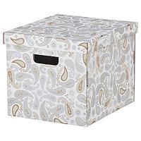 Коробка с крышкой СМЕКА серый, с рисунком 33x38x30 см, IKEA