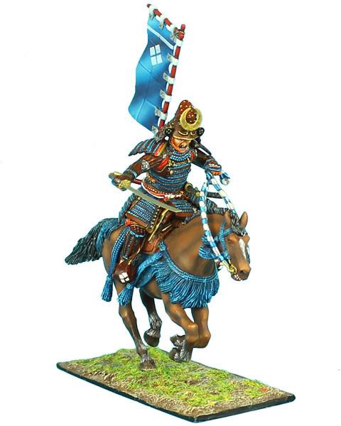 Коллекционный солдатик, Эпоха самураев. Конный самурай с катаной и Сасимоно -  Род Такэда
