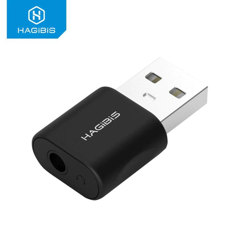 Внешняя USB звуковая карта HAGIBIS, USB - 3.5 mm jack, для ПК и Ноутбуков, Наушники + микрофон 2в1