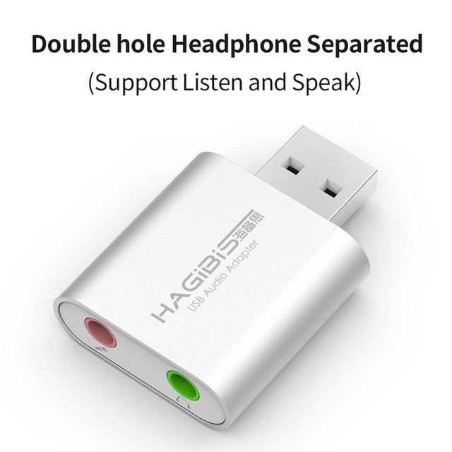 USB звуковая карта HAGIBIS, USB - 3.5mm jack audio, для ПК и Ноутбуков, Наушники + микрофон 2в1 2.0