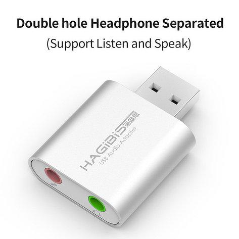 USB звуковая карта HAGIBIS, USB - 3.5mm jack audio, для ПК и Ноутбуков, Наушники + микрофон 2в1 2.0, фото 2