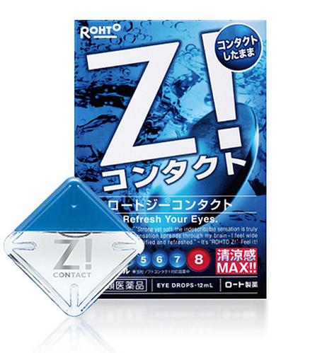 Rohto Z! Contact Глазные капли, снимающие усталость при ношении жестких контактных линз и синдром сухого глаза,12мл