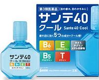 Santen 40 Cool Глазные (витамины E, B6, В5, Т) профилактические,возрастные капли от покраснения и усталости глаз, 12мл