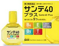 Santen 40 Plus Глазные капли (витамины E, B6, В5, Т) от усталости и покраснения глаз, 12мл
