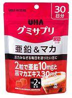 UHA Gummy Supple Zinc & Black Maca Жевательные витамины цинк и мака, 60 штук на 30 дней