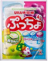 UHA Taste sugar Puccho bag four assorted Жевательные конфеты с фруктовым соком, ассорти, 98 гр