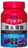 UHA Gummy Supple Железо и фолиевая кислота на 30 дней
