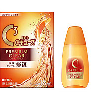 ROHTO С CUBE PREMIUM CLEAR Глазные капли при ношении контактных линз c витамином A, E и таурином, 18мл