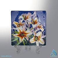 Стеклянная тарелка «Белые Лилии» (Сувенир), фото 1