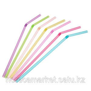 Трубочки d8x26mm цветные с гофрой (500шт)