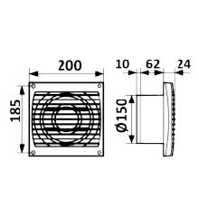 ERA 6S, Вентилятор осевой вытяжной c антимоскитной сеткой D 150