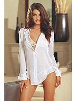 Сексуальная белая прозрачная рубашка + гипюровый лиф и трусики