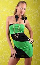 Черно-зеленое мини платье