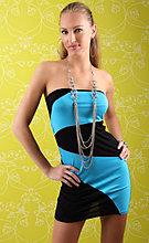 Туника-платье черно голубое