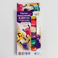 Тесто-пластилин 6 цветов с блёстками  TA1091