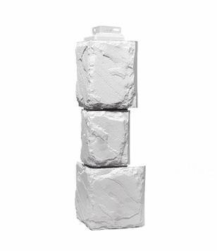 Угол Наружный Мелованный белый 459х140х140 мм Камень крупный FINEBER