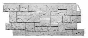 Фасадные панели Мелованный белый 1123x465 мм ( 0,44 м2)  Камень дикий FINEBER