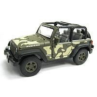 Машинка Jeep Wrangler Rubicon военная М 1:34-39 Welly