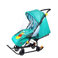 Санки коляска «Disney-baby 1. Винни», цвет изумрудный
