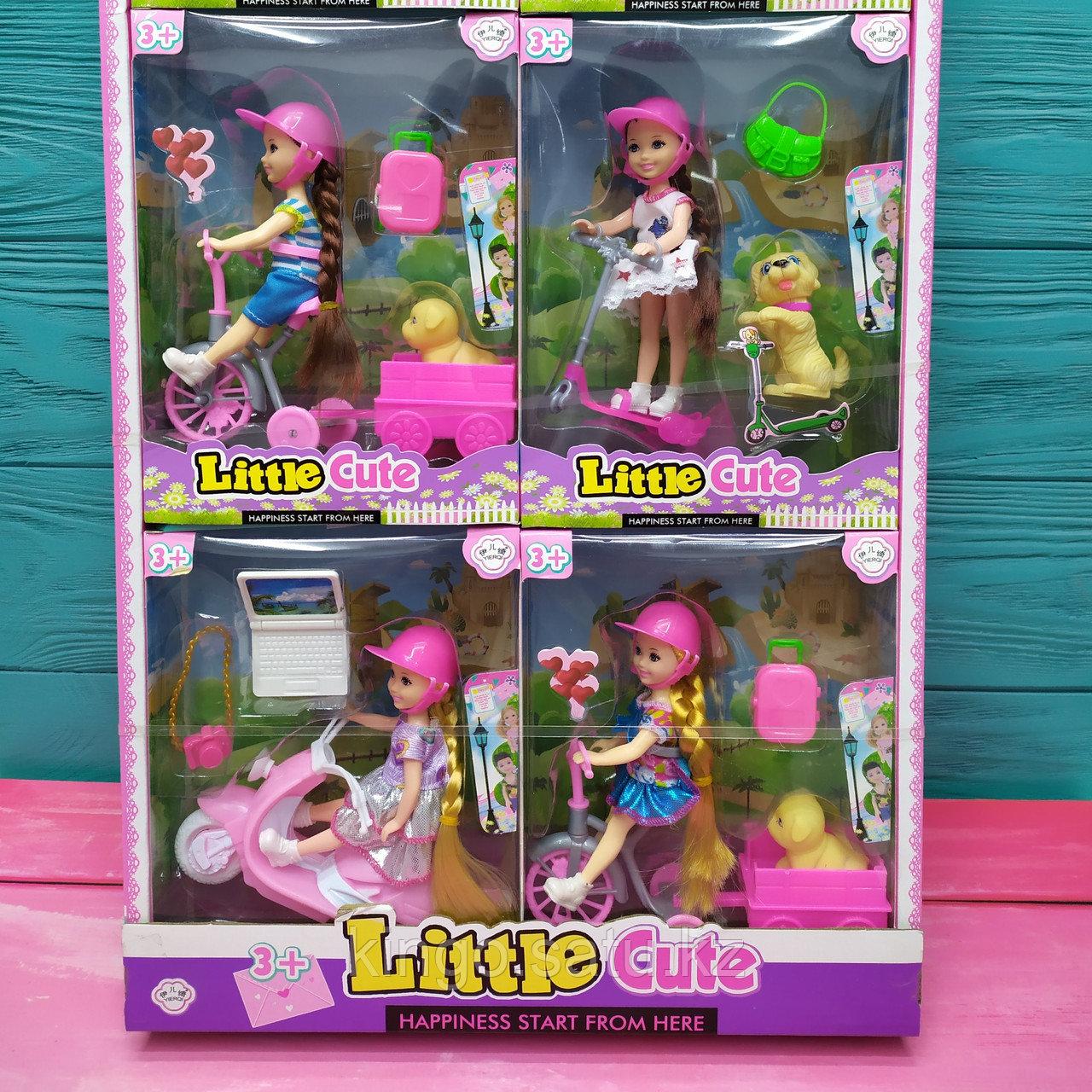 """Кукла с аксессуарами """"Little Cute"""" на самокате и с собачкой"""